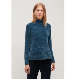 COS Chenille Jumper with Zip in Petrol Blue